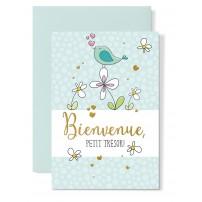 Carte double Naissance : Petit oiseau sur fleur