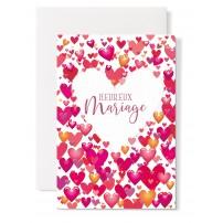 Carte double Mariage : Coeur blanc, petis coeurs tons rouge