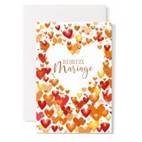Carte double Mariage : Coeur blanc, petis coeurs tons orange