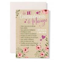 Carte double Mariage : 10 commandements, coeurs rose