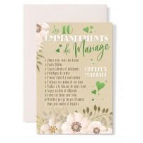 Carte double Mariage : 10 commandements, coeurs vert