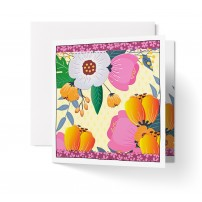 Carte double carrée sans texte : Fleurs