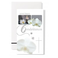 Carte double Condoléances : Bougie et orchidées blanche
