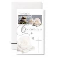 Carte double Condoléances : Galets et roses blanche