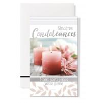 """Carte double Condoléances : """"Bougies et lys rose"""""""