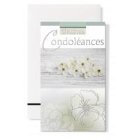 Carte double Condoléances : Petites fleurs blanches