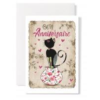 """Carte double Anniversaire : """"Chat sur un vase"""""""
