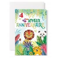 Carte double Anniversaire : Lion, tigre, panda