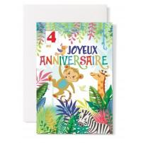 Carte double Anniversaire : Singe, Girafe, zèbre