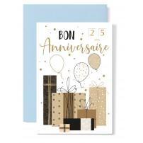 Carte double Anniversaire : Cadeaux et ballons bruns