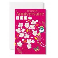 Carte double Anniversaire : Fleurs sur fond fushia