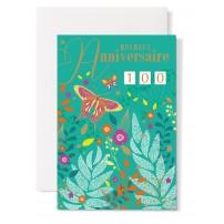 Carte double Anniversaire : Papillons et plantes sur fond vert