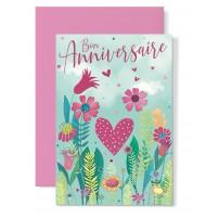 Carte double Anniversaire : Coeur dans champ de fleurs