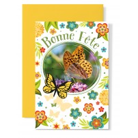 Carte double Bonne Fête : Papillon sur ortensias