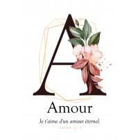 Carte postale - Lettre A - Amour