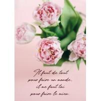Carte postale - Bouquet de fleurs roses