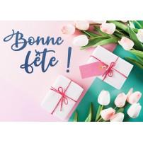 Carte postale - Cadeaux et tulipes