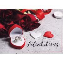 Carte postale - Roses, alliance et cœurs