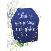 Carte postale - Fond bleu encadré de dorures et feuilles en aquarelle