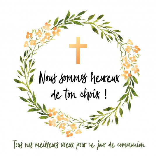 Carte double carrée : Couronne de fleurs et croix orange