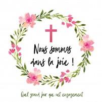 Carte double carrée - Couronne de fleurs et croix rose