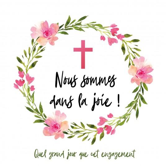Carte double carrée : Couronne de fleurs et croix rose
