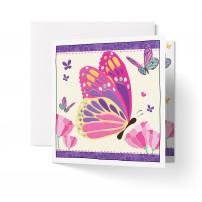 Carte double carrée sans texte : Papillons