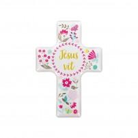 """Magnet motif floral """"Croix"""""""