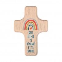 Mini croix Arc-en-ciel en bois d'hêtre et texte