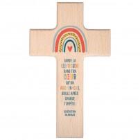 Croix Arc-en-ciel en bois d'hêtre