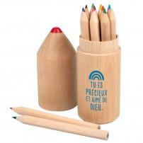 Etui 12 crayons de couleur et texte