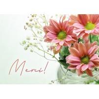 CARTE FLASH : Fleurs roses dans un vase