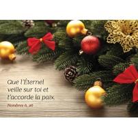 CARTE FA : Boules de Noël et branches de sapin sur une table