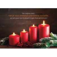 CARTE FA : 4 bougies de l'avent sur fond bois