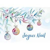 CARTE FA : Boules de Noël et branche en aquarelle