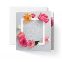 CARNET CARRE : Fleurs sur cadre blanc