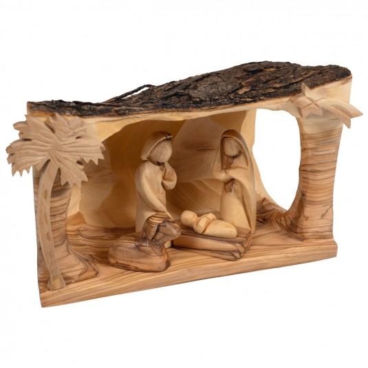 Crèche en bois d'olivier scène Berceau