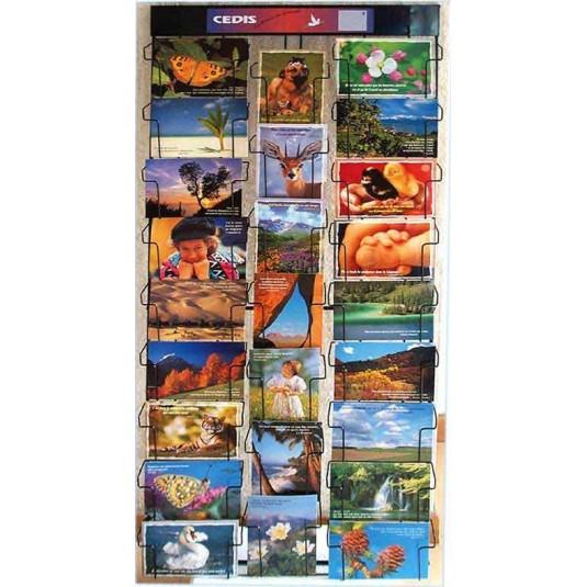 Pr sentoir mural cartes postales 25 cases format h 102 x - Presentoir cartes postales mural ...