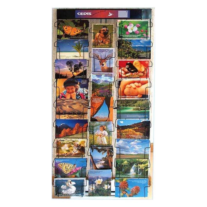 pr sentoir mural cartes postales 25 cases format h 102 x l 45 x p 5 cm a accrocher ou poser. Black Bedroom Furniture Sets. Home Design Ideas