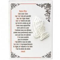 Céramique avec mains en prières en relief