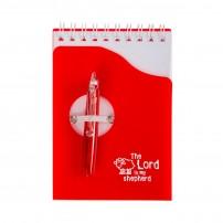Bloc notes rouge et stylo