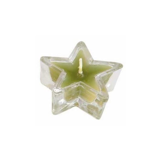 Bougeoir verre en étoile vert
