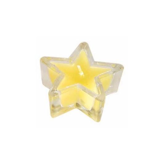 Bougeoir verre en étoile jaune