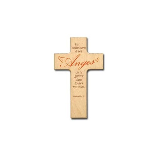 Croix en bois Car il ordonnera à ses anges....