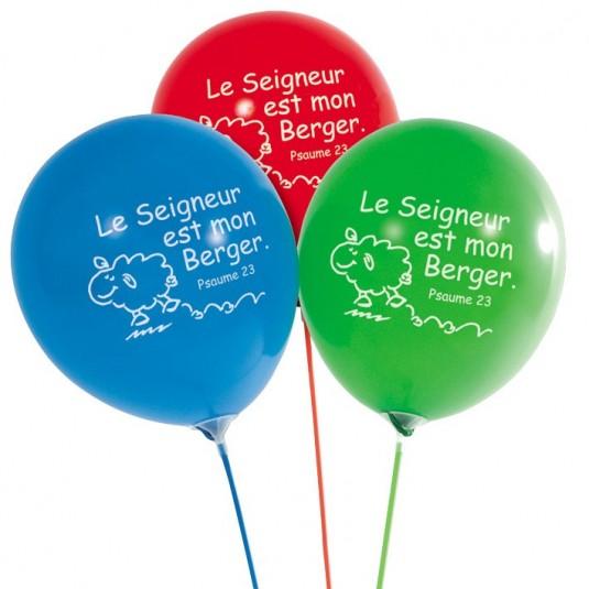 Ballon à gonfler Le seigneur est mon berger (paquet de 10)