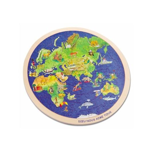 Puzzle le monde en bois 57 pièces d30cm