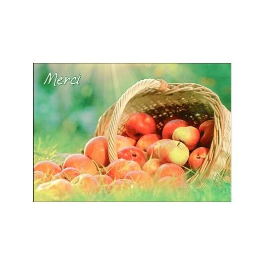 Carte Avec Message Panier de pommes (Merci)