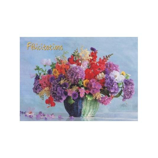Carte Avec Message Bouquet dans panier (Félicitations)
