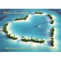 Carte avec des îles formant un coeur et un verset biblique.