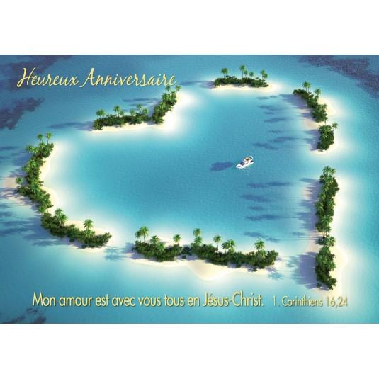 Carte Avec Verset Iles formant un coeur (JA)